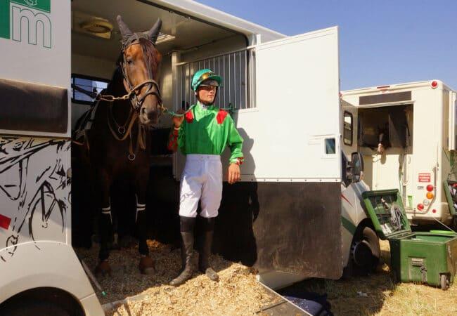 Jockey avec son cheval dans un van